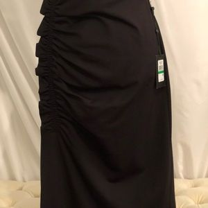 DKNY Ruched Black Large Skirt NWT